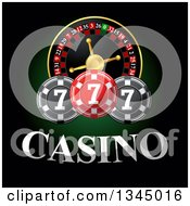 Clipart Of A Casino Roulette Wheel With Poker Chips And Text On Dark Green And Black Royalty Free Vector Illustration by Vector Tradition SM