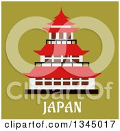 Clipart Of A Flat Design Pagoda Over Japan Text On Green Royalty Free Vector Illustration by Vector Tradition SM