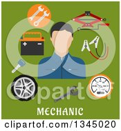 Clipart Of A Flat Design Mechanic Avatar With Jack Screw Wheel Key Wrench And Battery Items Over Text On Green Royalty Free Vector Illustration