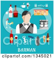 Clipart Of A Flat Design Bartender Avatar And Items Over Text On Blue Royalty Free Vector Illustration