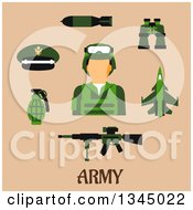 Clipart Of A Flat Design Army Soldier Avatar And Weapons Over Tan And Text Royalty Free Vector Illustration