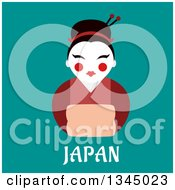 Clipart Of A Flat Design Geisha Woman Wearing A Formal Red Kimono Over Japan Text On Turquoise Royalty Free Vector Illustration