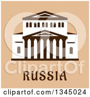 Clipart Of A Flat Design Of The Central Facade Of The Grand Theater Of Opera And Ballet Building Over Russia Text On Tan Royalty Free Vector Illustration