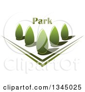 Clipart Of A Park With Green Shrubs In A Garden With Text Royalty Free Vector Illustration by Seamartini Graphics