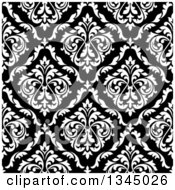 Seamless Pattern Background Of Vintage Damask In White Over Black