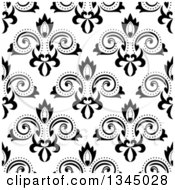 Clipart Of A Black And White Seamless Floral Background Pattern Royalty Free Vector Illustration by Vector Tradition SM