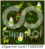 Clipart Of Flat Design Olives Oil And Leaves Royalty Free Vector Illustration