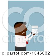Clipart Of A Flat Modern Black Businessman Holding A Pill Bottle Over Blue Royalty Free Vector Illustration