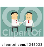 Clipart Of A Flat Design Of An Asian Businessman Boss Shaking Hands With A Partner Or Employee On Green Royalty Free Vector Illustration