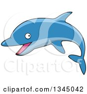 Clipart Of A Cartoon Blue Dolphin Royalty Free Vector Illustration by Vector Tradition SM
