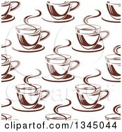 Clipart Of A Seamless Background Pattern Of Steamy Brown Coffee Cups 14 Royalty Free Vector Illustration