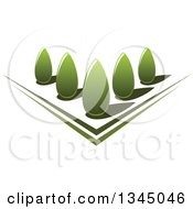 Clipart Of A Park With Green Shrubs In A Garden Royalty Free Vector Illustration by Seamartini Graphics
