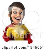 Clipart Of A 3d Brunette White Female Super Hero In A Yellow And Red Suit Giving A Thumb Up Over A Sign Royalty Free Illustration