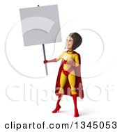 Clipart Of A 3d Brunette White Female Super Hero In A Yellow And Red Suit Holding And Pointing To A Blank Sign Royalty Free Illustration