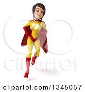Clipart Of A 3d Running Brunette White Female Super Hero In A Yellow And Red Suit Royalty Free Illustration