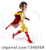 Clipart Of A 3d Brunette White Female Super Hero In A Yellow And Red Suit Running To The Right Royalty Free Illustration