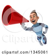 Clipart Of A 3d Young Brunette White Male Super Hero In A Dark Blue Suit Flying And Announcing With A Megaphone Royalty Free Illustration