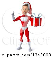 3d Young White Male Super Hero Santa Holding Up A Finger And A Christmas Gift