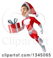 3d Young White Male Super Hero Santa Holding A Christmas Gift And Flying