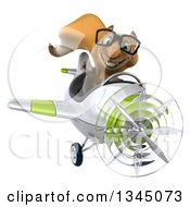 Clipart Of A 3d Bespectacled Squirrel Aviator Pilot Giving A Thumb Up And Flying A White And Green Airplane Royalty Free Illustration