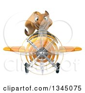 Clipart Of A 3d Business Squirrel Aviator Pilot Flying A Yellow Airplane Royalty Free Illustration by Julos