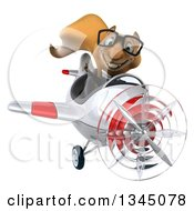 Clipart Of A 3d Bespectacled Business Squirrel Aviator Pilot Giving A Thumb Up And Flying A White And Red Airplane Royalty Free Illustration