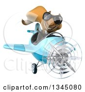Clipart Of A 3d Business Squirrel Aviator Pilot Wearing Sunglasses Giving A Thumb Up And Flying A Blue Airplane Royalty Free Illustration