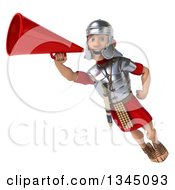 Clipart Of A 3d Young Male Roman Legionary Soldier Flying And Announcing With A Megaphone Royalty Free Illustration