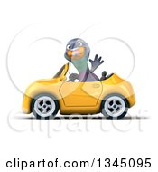 Clipart Of A 3d Pigeon Waving And Driving A Yellow Convertible Car To The Left Royalty Free Illustration
