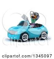 Clipart Of A 3d Bespectacled Pigeon Holding An Envelope And Driving A Blue Convertible Car Slightly To The Left Royalty Free Illustration