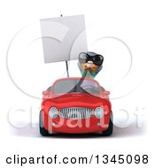 Clipart Of A 3d Pigeon Wearing Sunglasses Holding A Blank Sign And Driving A Red Convertible Car Royalty Free Illustration by Julos