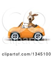 Clipart Of A 3d Kangaroo Giving A Thumb Down And Driving An Orange Convertible Car To The Left Royalty Free Illustration