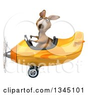 Clipart Of A 3d Kangaroo Aviator Pilot Giving A Thumb Down And Flying A Yellow Airplane To The Left Royalty Free Illustration
