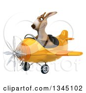 Clipart Of A 3d Kangaroo Aviator Pilot Flying A Yellow Airplane Slightly To The Left Royalty Free Illustration
