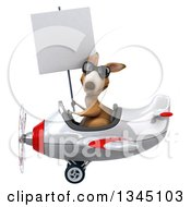 Clipart Of A 3d Kangaroo Aviator Pilot Wearing Sunglasses Holding A Blank Sign And Flying A White And Red Airplane To The Left Royalty Free Illustration