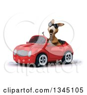 Clipart Of A 3d Kangaroo Wearing Sunglasses Giving A Thumb Up And Driving A Green Convertible Car Slightly To The Left Royalty Free Illustration