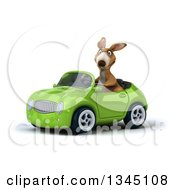 Clipart Of A 3d Kangaroo Driving A Green Convertible Car Slightly To The Left Royalty Free Illustration