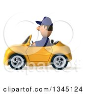 Clipart Of A 3d Short White Male Auto Mechanic Driving A Yellow Convertible Car To The Left Royalty Free Illustration