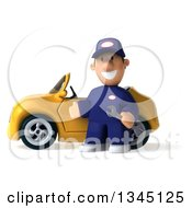 Clipart Of A 3d Short White Male Auto Mechanic Holding A Wrench And Presenting By A Yellow Convertible Car Royalty Free Illustration