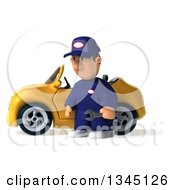 Clipart Of A 3d Short White Male Auto Mechanic Pouting And Holding A Wrench By A Yellow Convertible Car Royalty Free Illustration