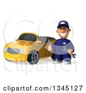 Clipart Of A 3d Short White Male Auto Mechanic Holding A Wrench And Presenting By A Yellow Convertible Car Royalty Free Illustration by Julos