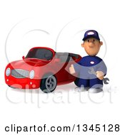 Clipart Of A 3d Short White Male Auto Mechanic Holding A Wrench And Presenting By A Red Convertible Car Royalty Free Illustration
