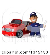 Clipart Of A 3d Short White Male Auto Mechanic Holding A Wrench And Welcoming By A Red Convertible Car Royalty Free Illustration