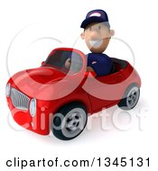 Clipart Of A 3d Short White Male Auto Mechanic Driving A Red Convertible Car Slightly To The Left Royalty Free Illustration