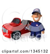 Clipart Of A 3d Short White Male Auto Mechanic Holding A Wrench By A Red Convertible Car Royalty Free Illustration