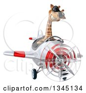 Clipart Of A 3d Aviator Giraffe Wearing Sunglasses And Flying A White And Red Airplane Royalty Free Illustration