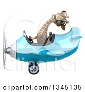 Clipart Of A 3d Bespectacled Giraffe Aviator Pilot Flying A Blue Airplane To The Left Royalty Free Illustration