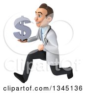 Clipart Of A 3d Young White Male Doctor Holding A Dollar Currency Symbol And Sprinting To The Left Royalty Free Illustration