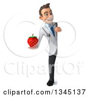 Clipart Of A 3d Full Length Young White Male Doctor Holding A Strawberry And Looking Around A Sign Royalty Free Illustration