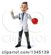 Clipart Of A 3d Young White Male Doctor Holding Up A Finger And A Tomato Royalty Free Illustration